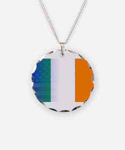 Irish Flag Stars and Stripes Necklace Circle Charm
