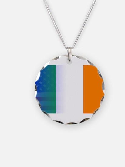 Irish Flag Stars and Stripes Necklace Circle Charm