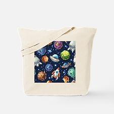 Cartoon Space Tote Bag