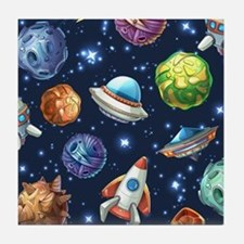Cartoon Space Tile Coaster