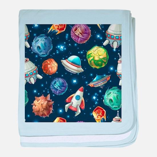 Cartoon Space baby blanket