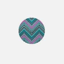 Ethnic Zigzag Pattern Mini Button