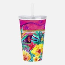Tropical Watercolor Acrylic Double-wall Tumbler