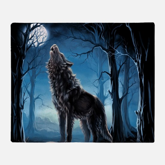 Howling Wolf Throw Blanket