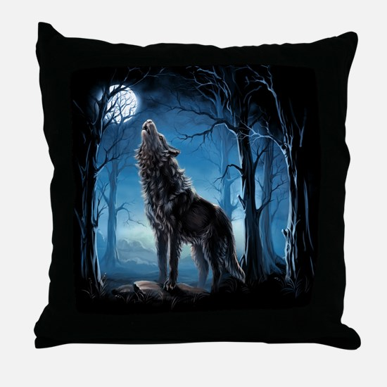 Howling Wolf Throw Pillow