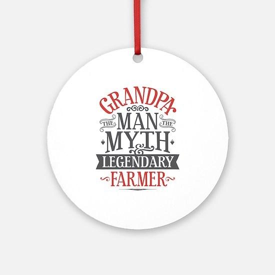 Grandpa Farmer Round Ornament