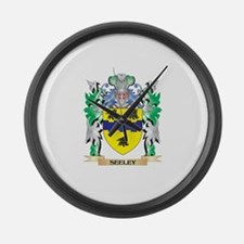 Seeley Coat of Arms - Family Cres Large Wall Clock
