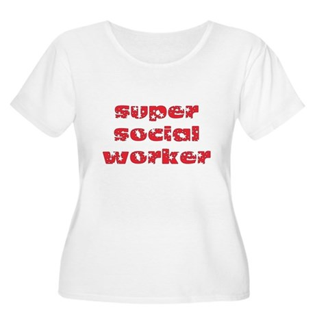 super social worker (Red) Women's Plus Size Scoop