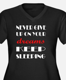 Cute Never give up Women's Plus Size V-Neck Dark T-Shirt