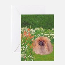 Pekingese Dog Garden Card Greeting Cards