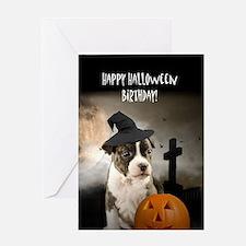 Halloween Birthday Pitbull Puppy Greeting Cards