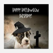Halloween Birthday Pitbull Puppy Tile Coaster