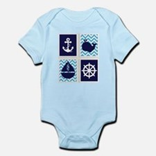 NAUTICAL IMAGES ON BLUE CHEVRON Body Suit
