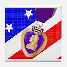 Flag and Purple Heart Tile Coaster