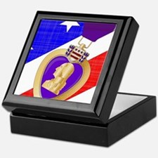 Flag and Purple Heart Keepsake Box
