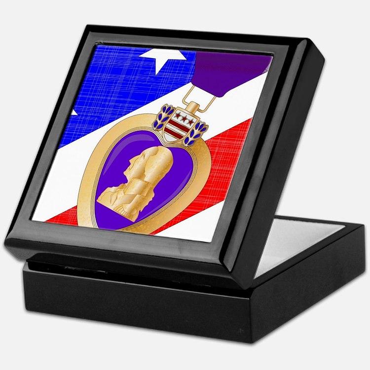 Flag and Purple Heart Keepsake Box