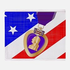 Flag and Purple Heart Throw Blanket