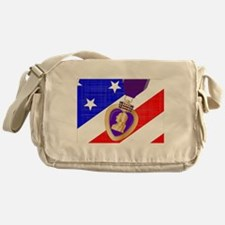 Flag and Purple Heart Messenger Bag