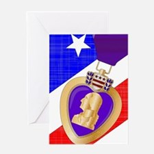 Flag and Purple Heart Greeting Cards