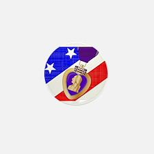 Flag and Purple Heart Mini Button