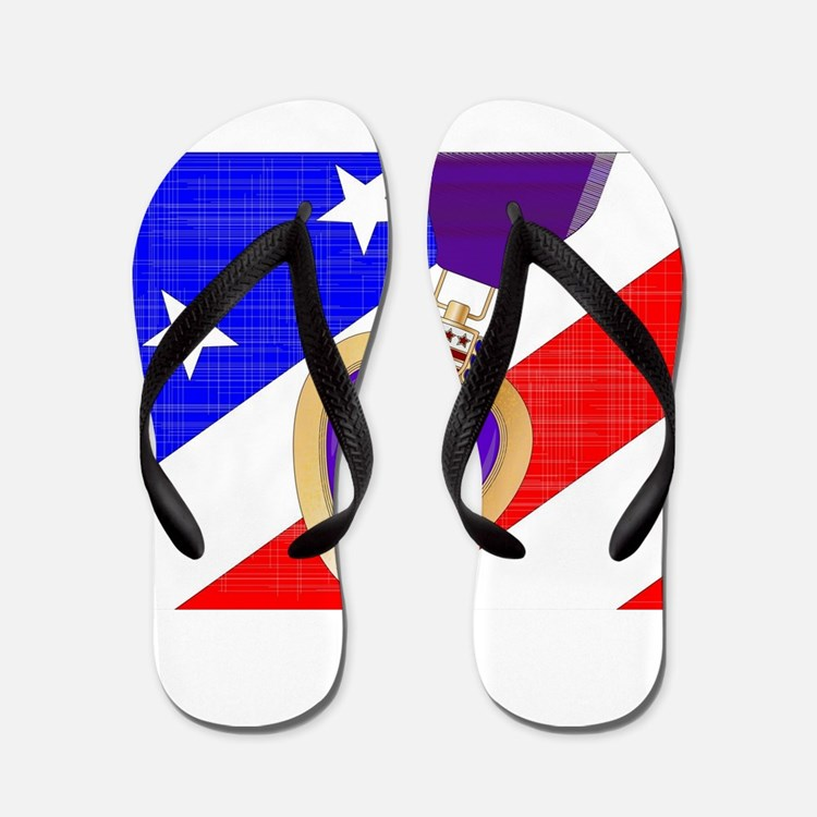 Flag and Purple Heart Flip Flops