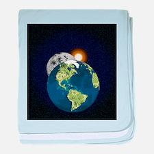 Earth Moon and Sun baby blanket