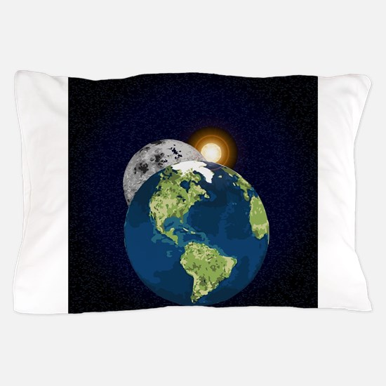 Earth Moon and Sun Pillow Case