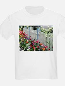 Tulips Garden Along White Picket Fence Pho T-Shirt