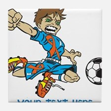 PERSONALIZED SOCCER BOY ORANGE RIBBON Tile Coaster