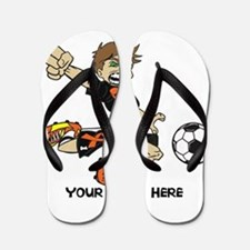 PERSONALIZED SOCCER BOY ORANGE RIBBON Flip Flops