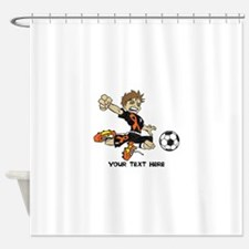 PERSONALIZED SOCCER BOY ORANGE RIBBON Shower Curta