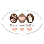Peace Love Bottle Oval Sticker