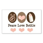 Peace Love Bottle Rectangle Sticker