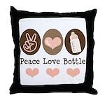 Peace Love Bottle Throw Pillow