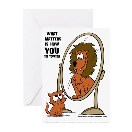 Kitten Lion Mirror Greeting Cards (Pk of 20)