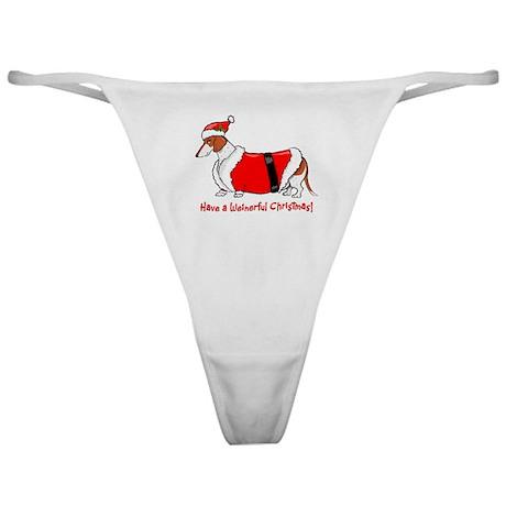 Red Piebald Santa Classic Thong