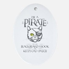 Pirate Kitty Oval Ornament