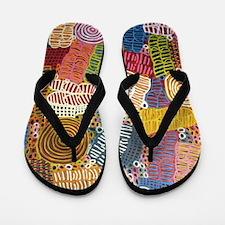 AUSTRALIAN ABORIGINAL CIRCLE ART3 Flip Flops