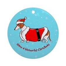 Red Piebald Santa Ornament (Round)