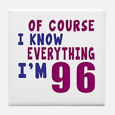 I Know Everythig I Am 96 Tile Coaster