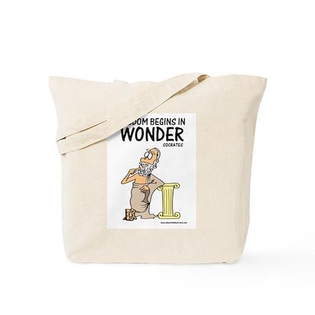 Wisdom Begins in Wonder Tote Bag