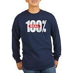 100 Percent Real Long Sleeve Dark T-Shirt