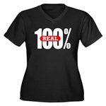 100 Percent Real Womens Plus Size V-Neck Black Tee