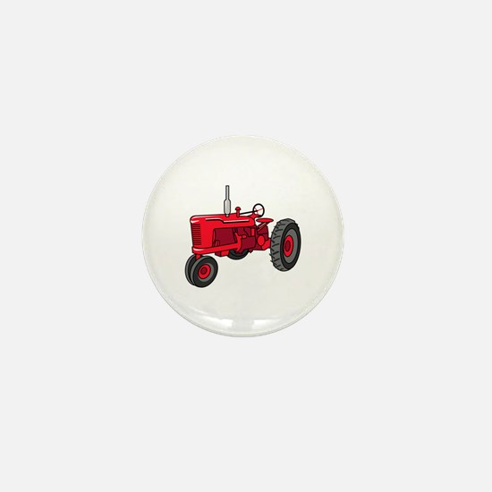 Vintage Red Tractor Mini Button