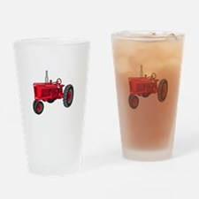 Vintage Red Tractor Drinking Glass