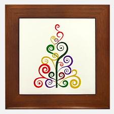 Swirly Large Xmas Tree Framed Tile