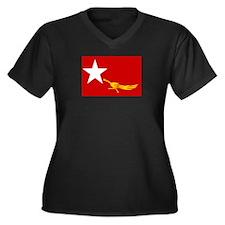 NLD BURMA FLAG Women's Plus Size V-Neck Dark T-Shi