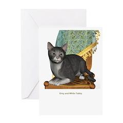 Grey N White Tabby Greeting Card