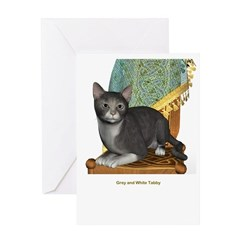 Grey N White Tabby Greeting Card