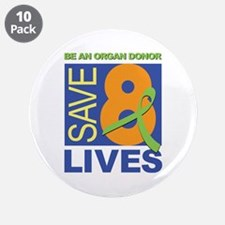 """Save 8 Lives 3.5"""" Button (10 pack)"""